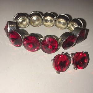 Red bracelet & earring set